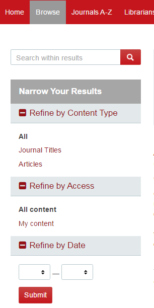 Search across Journals